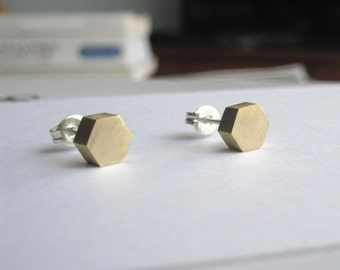 Brass Hexagon Studs with Sterling Silver Ear Wire and Sterling Silver Ear nut 0032