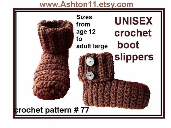 INSTANT DOWNLOAD Crochet Pattern PDF 77- Boot Slippers-Small, Medium and  Large, for guys and gals.