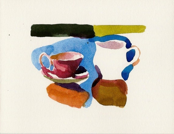MOVING SALE- Creamer and cup-Original Watercolor Painting