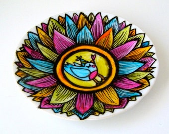 Bird Plate Ceramic Dish Party Animal Turquoise Blue Folk Art Metallics Leaves Orange Green Pink Scallops Painted Upcycled - READY TO SHIP