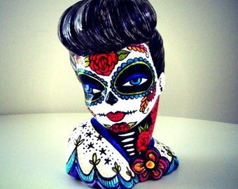Pinup Girl Vase Day of the Dead Sugar Skull Painted Retro Tattoo Lady Head Planter Red Roses Blue Bird Sacred Heart white black