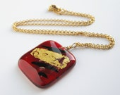 Gold Leaf Ruby Glass Pendant 14k Gold Fill Chain OOAK