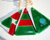 Christmas glass decorations hand made in red and green set of three Xmas ornaments