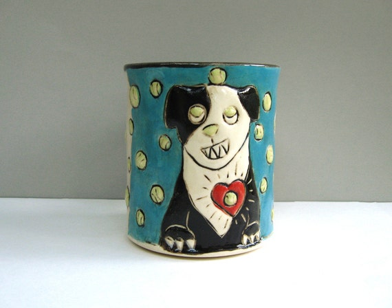 Dog Mug, Black And White Dog Loves Ball, Blue And Colorful, Coffee Cup