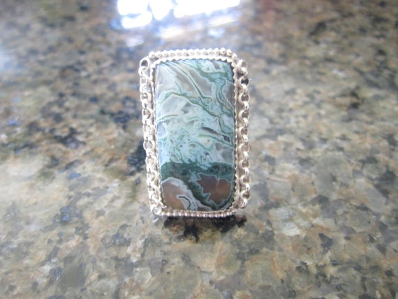 Sterling Silver Ocean Jasper Ring - Size 9 1/2 - EARMARK of EXCELLENCE