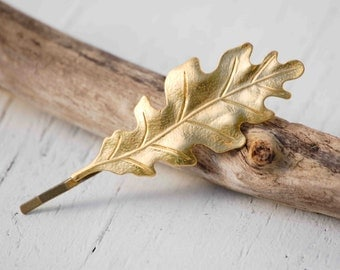 Gold LEAF Bobby Pin Woodland Wedding Boho Autumn Romantic Whimsical Oak Leaf