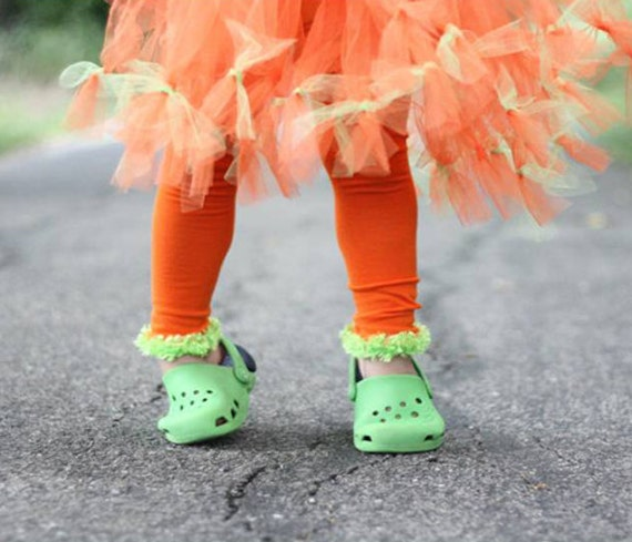 Orange and Green Halloween Baby Toddler Leg Warmers FREE SHIPPING