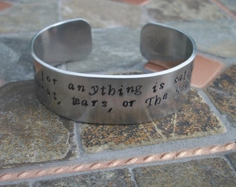 The Cure For Anything Is Saltwater - Hand Stamped 3/4 Inch Aluminum Cuff Bracelet - Stamped Starfish