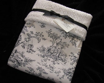 "ABC Central Park Toile Baby Blanket with Cozy Ivory MINKY Dot 30"" x 36"""