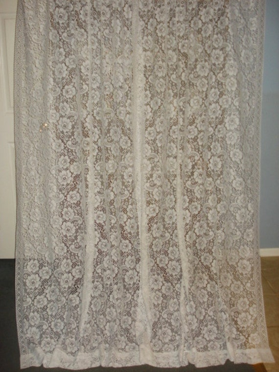 vintage white paisley floral lace net curtain 2 long panels