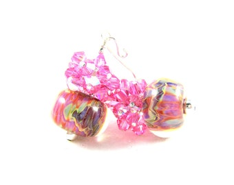 Pink Crystal Cluster Earrings, Drop Earrings, Boro Lampwork Earrings, Pink Purple Earrings, Colorful Glass Earrings, Beaded Earrings - Silly
