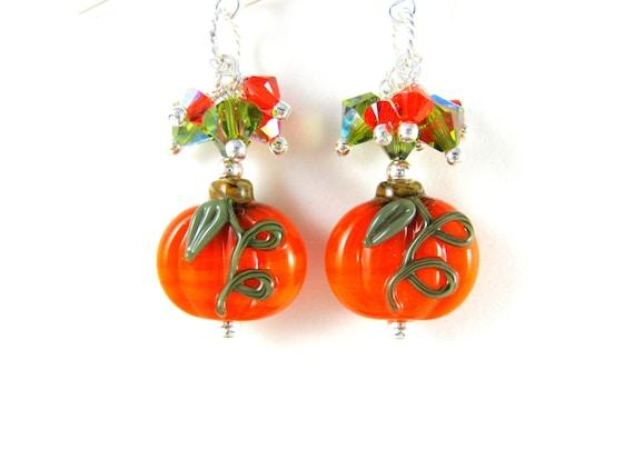 Pumpkin Earrings, Halloween Earrings, Orange Lampwork Earrings, Orange Earrings, Glass Pumpkin Earrings - Pumpkin Patch
