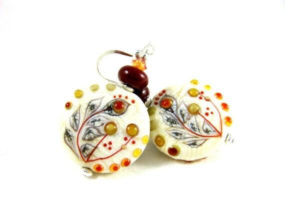 Botanical Earrings, Nature Jewelry, Ivory Brown Lampwork Earrings, Neutral Color Jewelry, Woodland Dangle Earrings - Beautiful Botanicals
