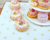Pink 'Marie Antoinette' Rose Petal Sablé - French Shortbreads - 12th Scale Miniature Food