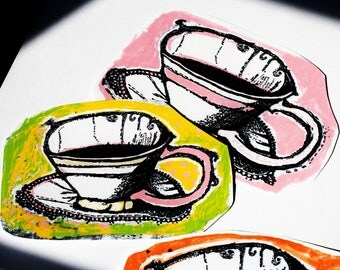sticker set art tea cup pink orange coffie paper original