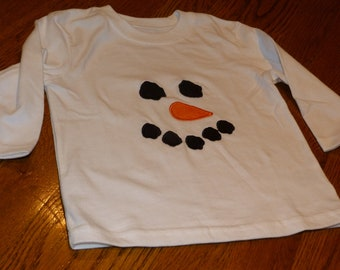 "Embroidered Long Sleeved Christmas Shirt ""Boys Snowman Face"""