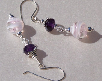 Pink Swirl and Amethyst Earrings