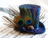Victorian Mini Top Hat with Peacock Feathers - The Vanity Fair - Ready to Ship