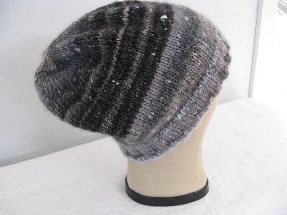 Wool Knit Slouchy Beanie for Men or Women. Hand Knit Hat.