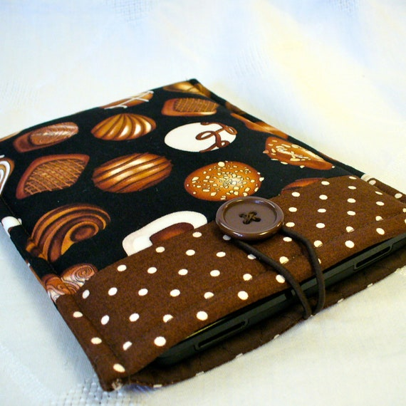 KINDLE Sleeve Ereader Case Kindle Fire Cover Padded Sleeve Chocolates Bonbons Black Brown Fabric  Ready to Ship