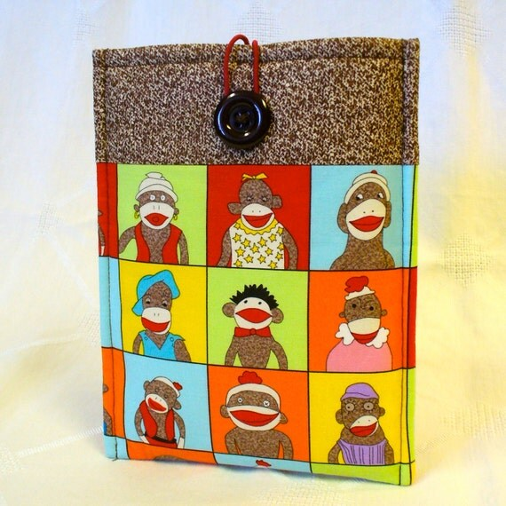 NOOK Tablet Case NOOK Sleeve iPad Mini Case Nook Color Case Padded Sleeve Five Funky Sock Monkeys Fabric Handmade