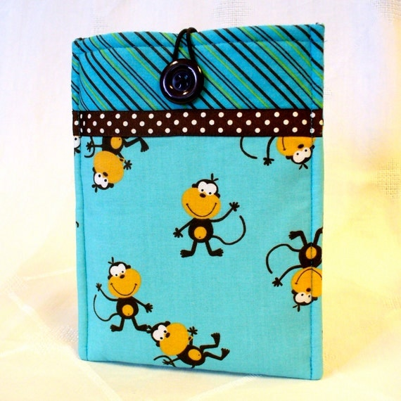 SALE iPad Mini Case NOOK Color Sleeve Ereader Case Nook Tablet Cover Padded Sleeve Monkeys Turquoise Brown Back to School