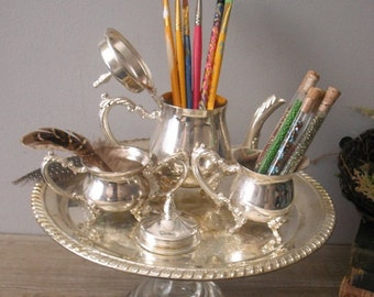 upcycled Silverplate TEA SET Pedestal Tray ORGANIZER .. office .. desk..  Art room Shabby chic Cottage