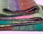 Muted Rainbow #3, Handwoven Twill Chevron Scarf