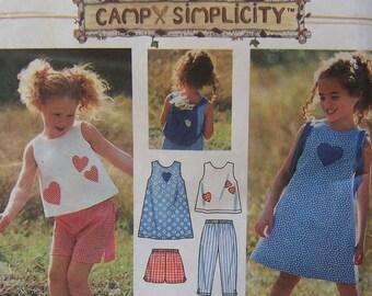 Capri Pants, Top, Dress, Shorts & Bag - Child Simplicity 7150 Pattern - UNCUT