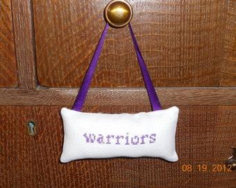 Warriors Cross Stitch Hanging Pillow