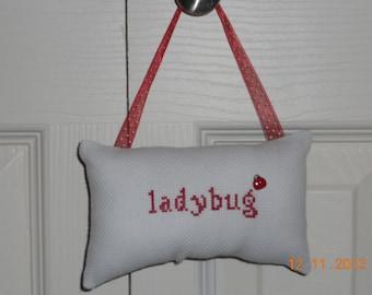 Ladybug Counted Cross Stitch Hanging Pillow