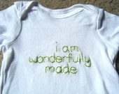 "Baby Onesie ""I am wonderfully made"" for Girls and Boys"