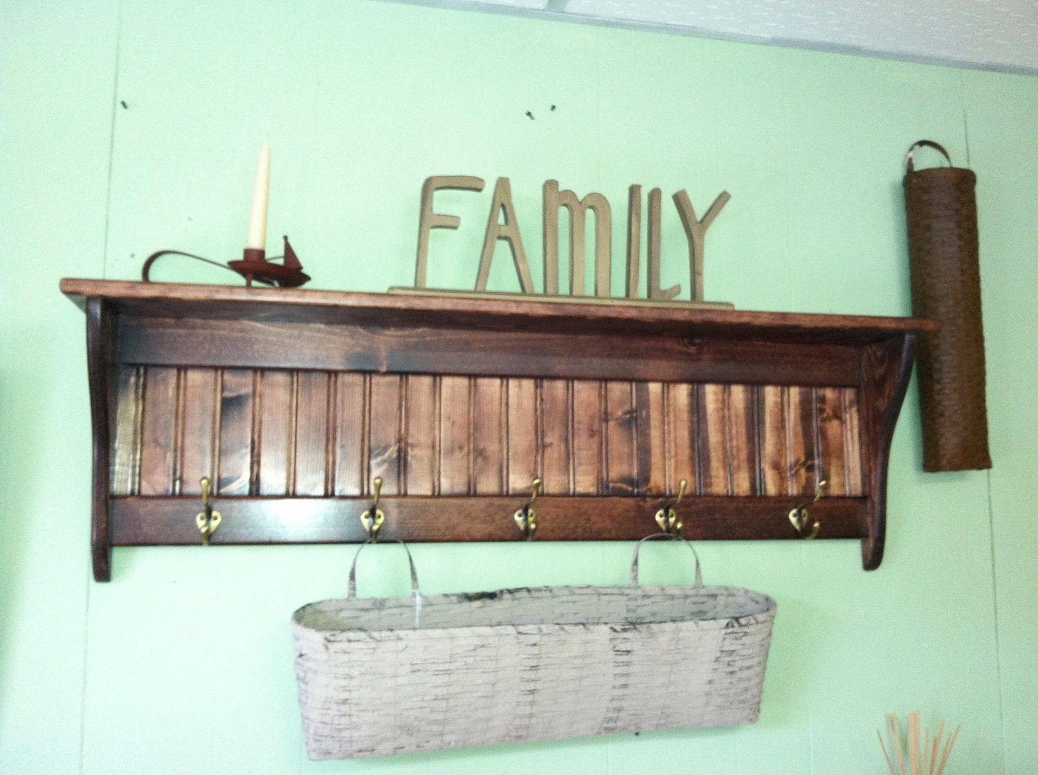 wood coat rack wall shelf country wood by appletreewoodcrafts. Black Bedroom Furniture Sets. Home Design Ideas