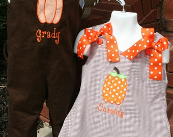 Brother Sister Pumpkin Outfits Monogram is Free