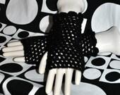 Black Sequin Mesh Fingerless Gloves