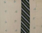 1960s Skinny Mad Men Vintage Necktie Diagonal Green Silver Black Stripes