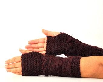 Oxblood Gloves Burgundy Gloves Fingerless Gloves Mittens Armwarmers Hand Knit Rouge Bordeaux Warm Cozy