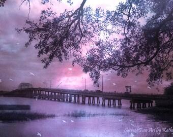 Purple Nature Photography, Purple Pink Bridge Nature Photo, Dreamy Fantasy Beaufort South Carolina Coastal Bridge, Surreal Ocean Coastal Art