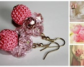 Vintage look pink earrings with crocheted and crystal beads