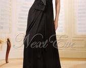 Black Taffeta Sweetheart Neckline Spaghetti Strap Formal Evening Gown Prom Dress - REN11A26