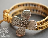 Dogwood Flower Beaded Yellow Tigers Eye Stone Leather Wrap Bracelet (MTO)