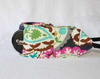 Ready to ship Wide Camera Strap for DSL camera Navy, Pink, Turquoise and Lime Paisley print with lens cap pocket