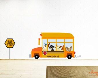 Cute Chihuahuas on Bus Wall Decal