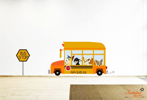 Cute Chihuahuas on Bus Wall Decal