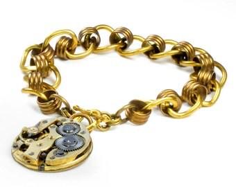 Steampunk  Antique Brass Watch Movement n Vintage Brass Chain Bracelet