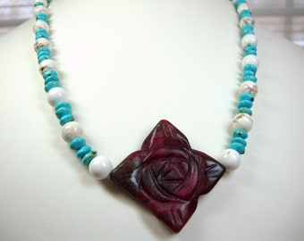Turquoise in Blue and White with Rose Necklace, Gift for Her