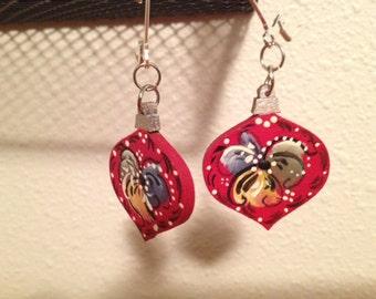 Hand Painted Norwegian Rosemaled Christmas Ornament Earrings