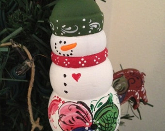 Norwegian Rosemaled Snowman Ornament Large