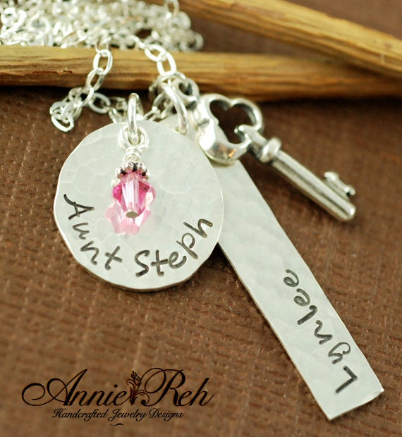 Hand Stamped Sterling Silver Necklace - Name and Date - Sterling Silver Key - Personalized Jewelry - Birthstone Jewelry - Mommy Jewelry