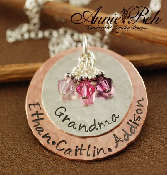 Grandmother Jewelry, Hand Stamped Necklace, Grandma Necklace, Personalized Jewelry